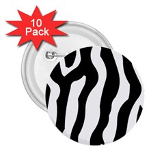 Zebra Horse Skin Pattern Black And White 2 25  Buttons (10 Pack)  by picsaspassion
