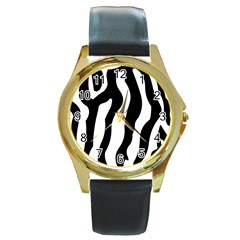 Zebra Horse Skin Pattern Black And White Round Gold Metal Watch by picsaspassion