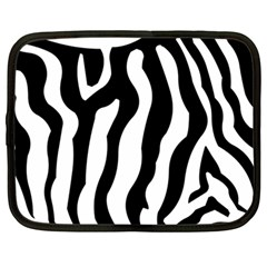 Zebra Horse Skin Pattern Black And White Netbook Case (large) by picsaspassion