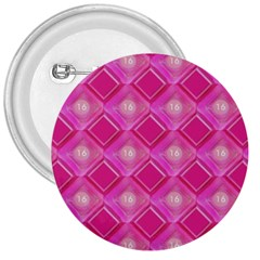 Pink Sweet Number 16 Diamonds Geometric Pattern 3  Buttons by yoursparklingshop