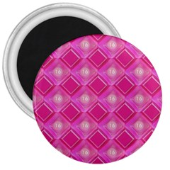 Pink Sweet Number 16 Diamonds Geometric Pattern 3  Magnets by yoursparklingshop