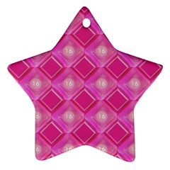 Pink Sweet Number 16 Diamonds Geometric Pattern Star Ornament (two Sides)  by yoursparklingshop