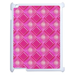 Pink Sweet Number 16 Diamonds Geometric Pattern Apple Ipad 2 Case (white) by yoursparklingshop