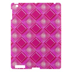 Pink Sweet Number 16 Diamonds Geometric Pattern Apple Ipad 3/4 Hardshell Case by yoursparklingshop