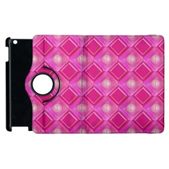 Pink Sweet Number 16 Diamonds Geometric Pattern Apple Ipad 2 Flip 360 Case by yoursparklingshop