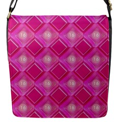 Pink Sweet Number 16 Diamonds Geometric Pattern Flap Messenger Bag (s) by yoursparklingshop