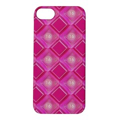 Pink Sweet Number 16 Diamonds Geometric Pattern Apple Iphone 5s/ Se Hardshell Case by yoursparklingshop