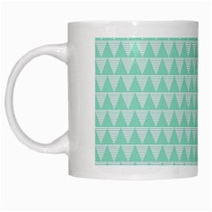 Mint Color Triangle Pattern White Mugs by picsaspassion
