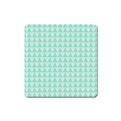 Mint Color Triangle Pattern Square Magnet by picsaspassion