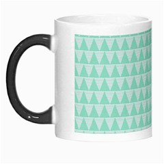 Mint Color Triangle Pattern Morph Mugs by picsaspassion