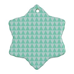 Mint Color Triangle Pattern Ornament (snowflake)  by picsaspassion