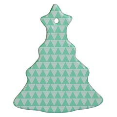 Mint Color Triangle Pattern Ornament (christmas Tree) by picsaspassion