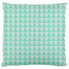Mint Color Triangle Pattern Large Cushion Case (two Sides) by picsaspassion