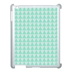 Mint Color Triangle Pattern Apple Ipad 3/4 Case (white) by picsaspassion