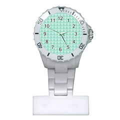 Mint Color Triangle Pattern Plastic Nurses Watch by picsaspassion