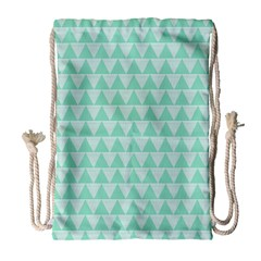 Mint Color Triangle Pattern Drawstring Bag (large) by picsaspassion