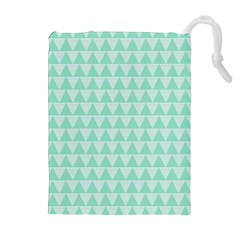 Mint Color Triangle Pattern Drawstring Pouches (extra Large) by picsaspassion