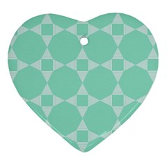 Mint Color Star   Triangle Pattern Ornament (heart)  by picsaspassion
