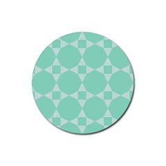Mint Color Star - Triangle Pattern Rubber Round Coaster (4 Pack)  by picsaspassion