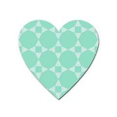 Mint Color Star - Triangle Pattern Heart Magnet by picsaspassion