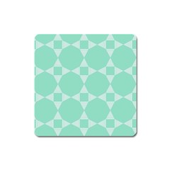 Mint Color Star   Triangle Pattern Square Magnet by picsaspassion