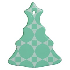Mint Color Star   Triangle Pattern Christmas Tree Ornament (2 Sides) by picsaspassion