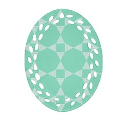 Mint Color Star - Triangle Pattern Ornament (oval Filigree)  by picsaspassion