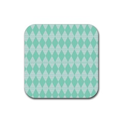 Mint Color Diamond Shape Pattern Rubber Square Coaster (4 Pack)  by picsaspassion