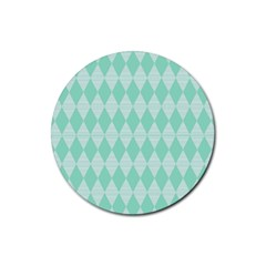 Mint Color Diamond Shape Pattern Rubber Coaster (round)