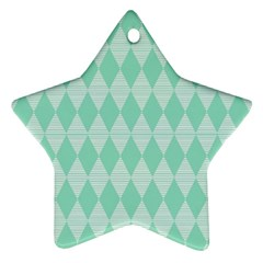 Mint Color Diamond Shape Pattern Star Ornament (two Sides)  by picsaspassion