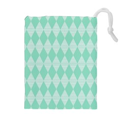Mint Color Diamond Shape Pattern Drawstring Pouches (extra Large) by picsaspassion