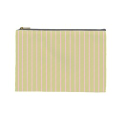 Summer Sand Color Pink Stripes Cosmetic Bag (large)  by picsaspassion