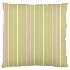 Summer Sand Color Pink And Yellow Stripes Large Flano Cushion Case (one Side) by picsaspassion