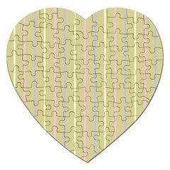 Summer Sand Color Lilac Pink Yellow Stripes Pattern Jigsaw Puzzle (heart) by picsaspassion