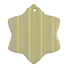 Summer Sand Color Lilac Pink Yellow Stripes Pattern Ornament (snowflake)  by picsaspassion
