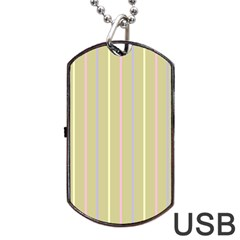 Summer Sand Color Lilac Pink Yellow Stripes Pattern Dog Tag Usb Flash (one Side) by picsaspassion