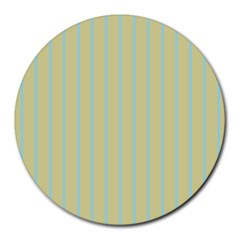 Summer Sand Color Blue Stripes Pattern Round Mousepads by picsaspassion
