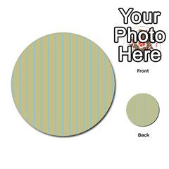 Summer Sand Color Blue Stripes Pattern Multi Purpose Cards (round)  by picsaspassion