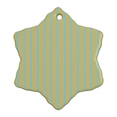 Summer Sand Color Blue Stripes Pattern Snowflake Ornament (2 Side) by picsaspassion