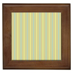 Summer Sand Color Blue And Yellow Stripes Pattern Framed Tiles by picsaspassion