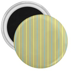 Summer Sand Color Blue And Yellow Stripes Pattern 3  Magnets by picsaspassion