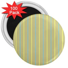Summer Sand Color Blue And Yellow Stripes Pattern 3  Magnets (100 Pack) by picsaspassion