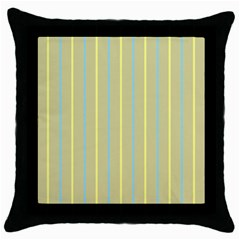 Summer Sand Color Blue And Yellow Stripes Pattern Throw Pillow Case (black) by picsaspassion
