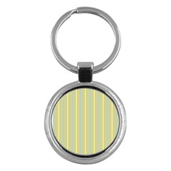 Summer Sand Color Blue And Yellow Stripes Pattern Key Chains (round)  by picsaspassion