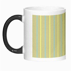 Summer Sand Color Blue And Yellow Stripes Pattern Morph Mugs by picsaspassion