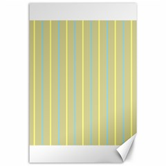 Summer Sand Color Blue And Yellow Stripes Pattern Canvas 24  X 36
