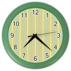Summer Sand Color Blue And Yellow Stripes Pattern Color Wall Clocks by picsaspassion