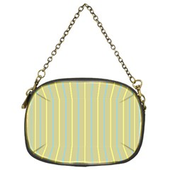 Summer Sand Color Blue And Yellow Stripes Pattern Chain Purses (one Side)