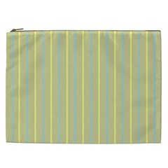 Summer Sand Color Blue And Yellow Stripes Pattern Cosmetic Bag (xxl)  by picsaspassion