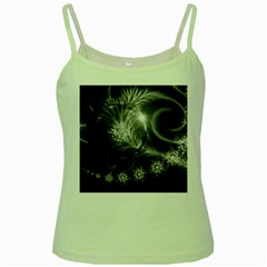 Silver Feather And Ball Decoration Green Spaghetti Tank by picsaspassion